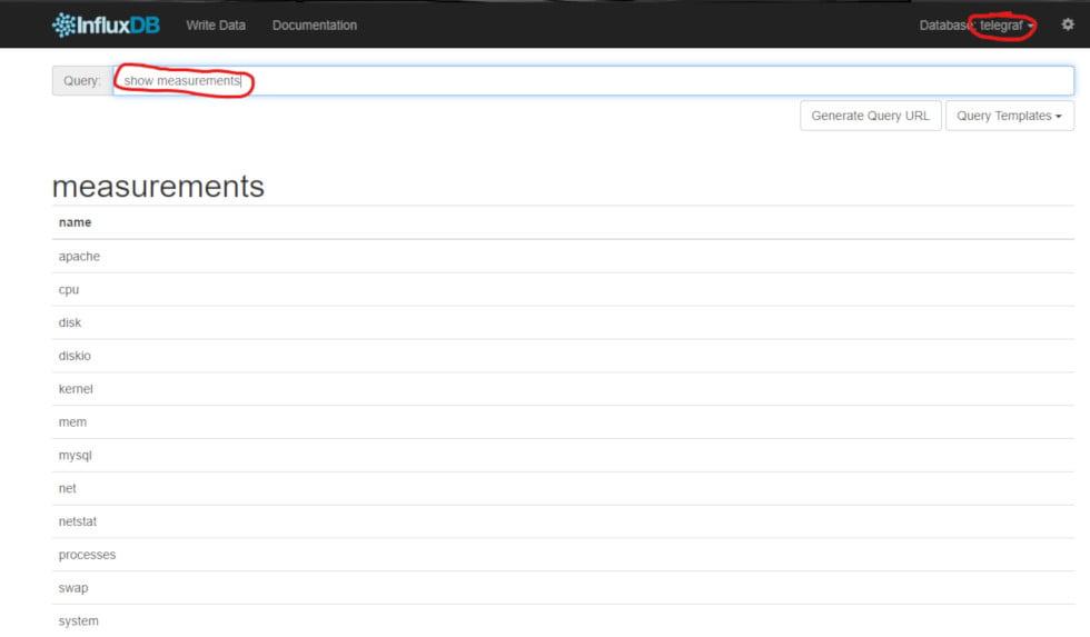 Búsqueda de datos registrados en InfluxDB por agente de Telegraf